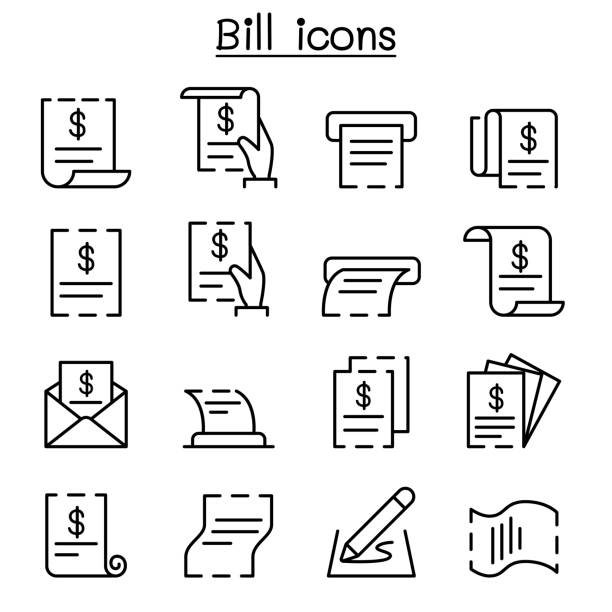 bill, receipt, invoice, contract icon set in thin line style vector art illustration