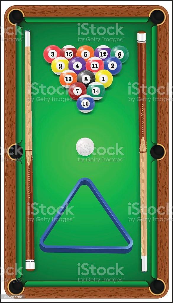 Billiard set. Billard balls, cue and billiard triangle in a pool...