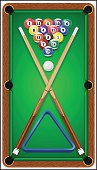 Billard balls, cue and billiard triangle in a pool table.