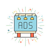 istock Billboard Advertising Line Icon 1303994089