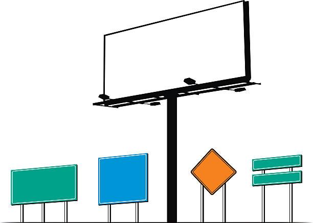 Billboard and road signs vector art illustration