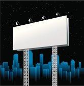 Billboard at Night Vector Illustration