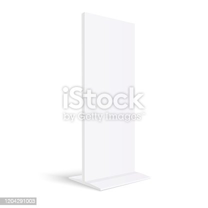 Advertising totem mockup  blank billboard isolated on white background - 3D perspective side view - Vector illustration