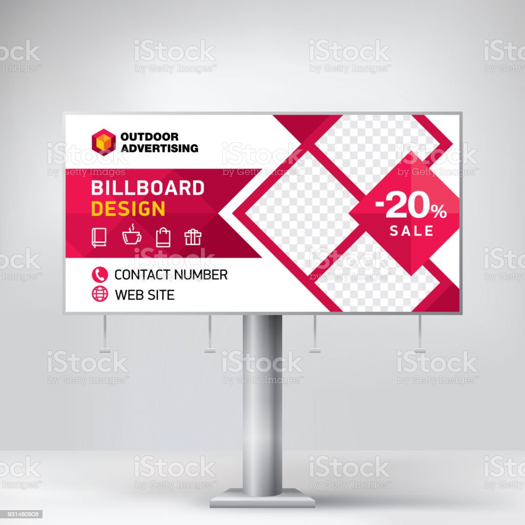 Billboard Design Template For Outdoor Advertising Posting Photos And ...