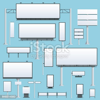 istock Billboard flat Set of different perspectives advertising construction for outdoor advertising big billboard on blue background isolated vector illustration 848314550