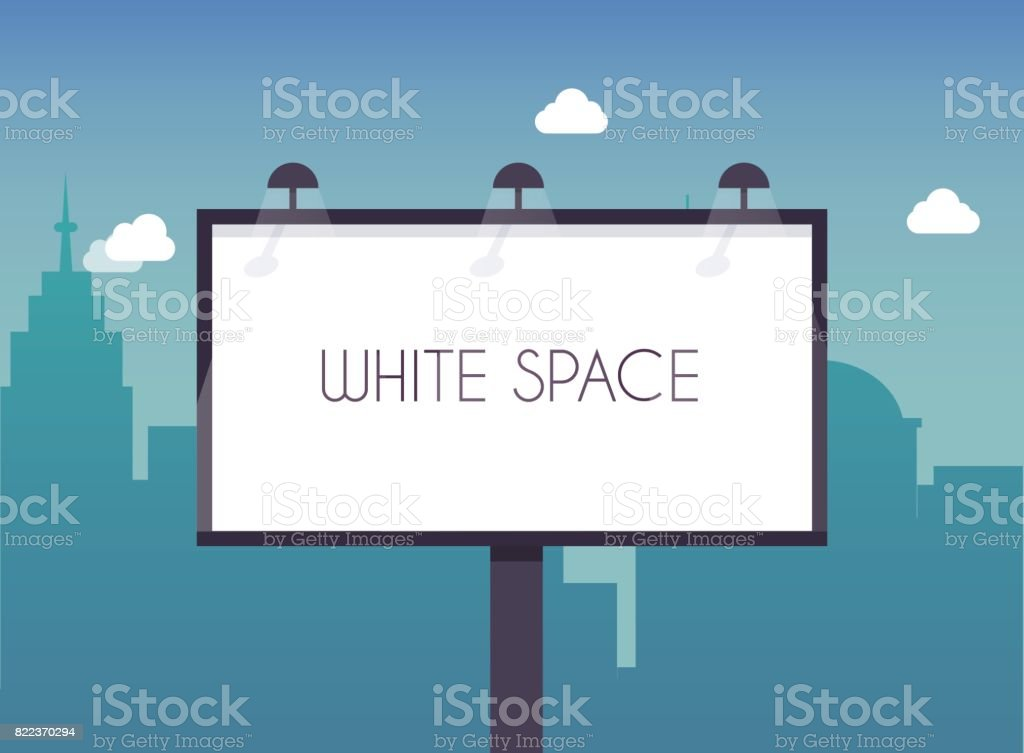 Billboard with copy space text standing high over large city street skyscrapers buildings. Flat design modern vector illustration concept. vector art illustration