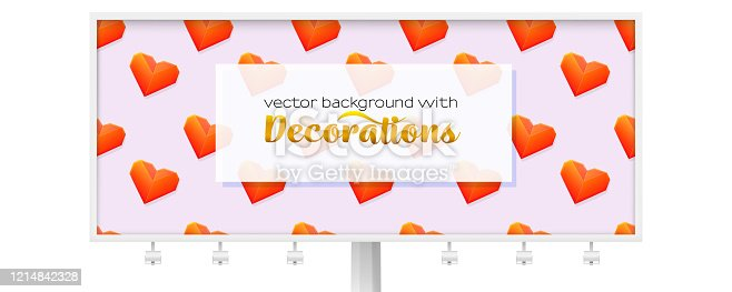 Billboard with pattern from flying hearts. Red hearts from folded paper, ornament for Valentine s day. Template for promotion, advertising, banners. Vector 3d illustration.