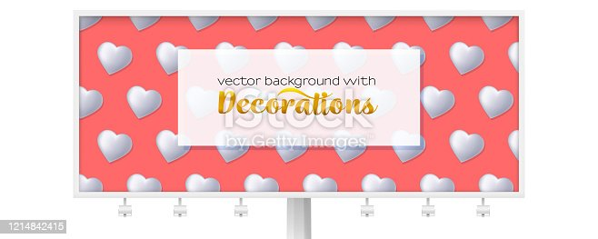 Billboard with pattern from white hearts. Volumetric hearts on pink background Ornament for Valentine s day. Template for promotion, advertising, banners. Vector 3d illustration.