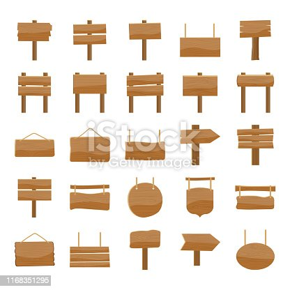 Look here is a cartoon wooden billboards icons set in flat design. Editable vectors are easy to use for your design needs.