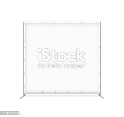 Billet press wall with blank banner, mobile trade show booth vector illustration