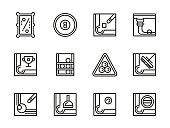 Billiard accessories black line vector icons set