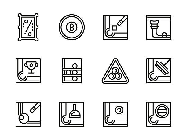 billiard accessories black line vector icons set - 캐럼 stock illustrations