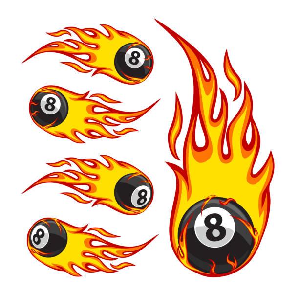 火のビリヤード ボール 8 - 炎のタトゥー点のイラスト素材/クリップアート素材/マンガ素材/アイコン素材