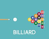 Billiard ball icon and cue stick for use as flyer or poster background, flat design