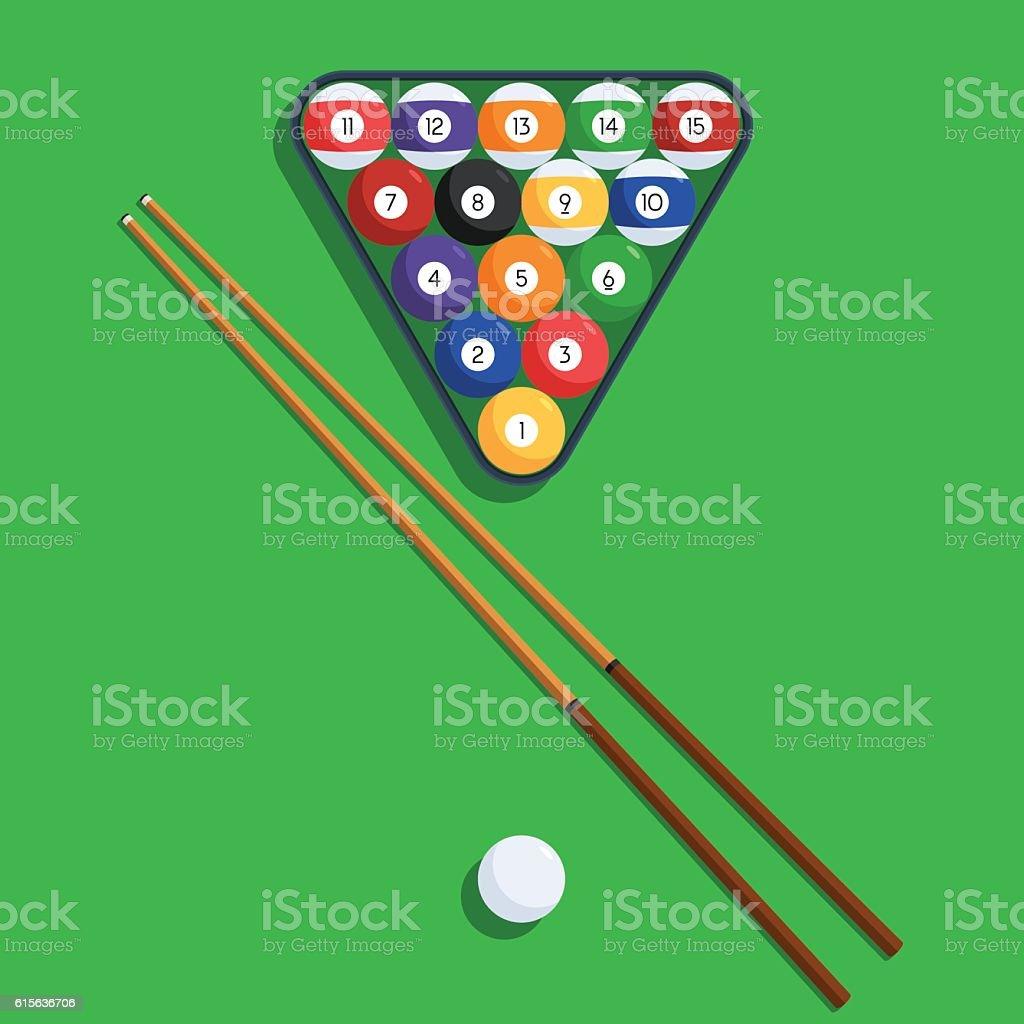 Billiard Balls And Cue On Green Background Vector Art Illustration