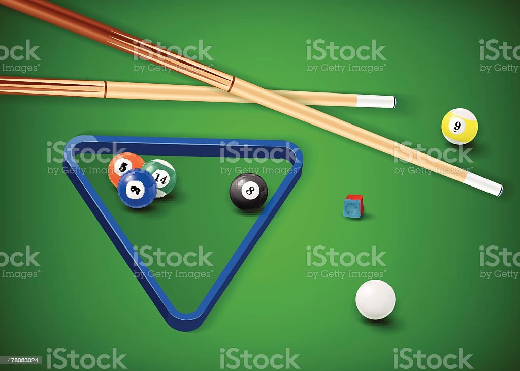 Billiard balls in a pool table. vector art illustration