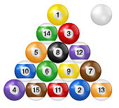Billiard balls triangle isolated on white background. Three-dimensional and realistic looking vector illustration.