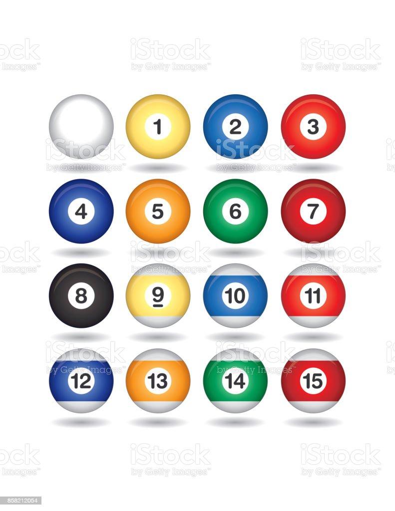 billiard balls vector art illustration