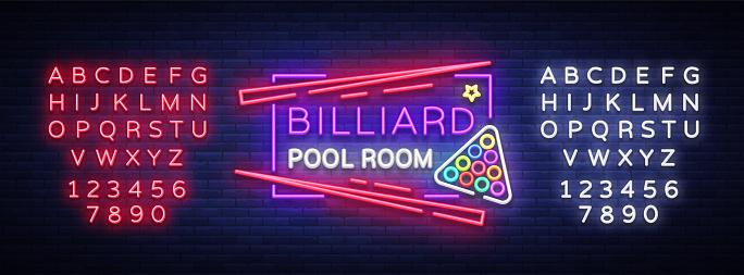 Billiard club neon sign. Billiard pool room Design template Bright neon emblem, logo for Billiard Club, Bar, Tournament. Light banner, night sign. Vector Illustrations. Editing text neon sign.