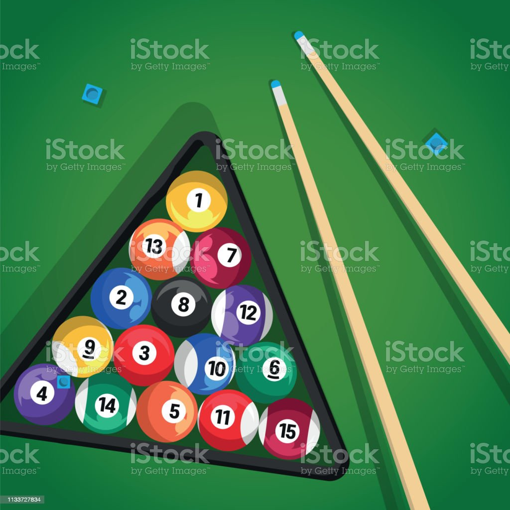 Billiard cue and pool balls in triangle on green table while game....
