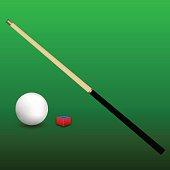 Billiard Cue, Ball and Chalk