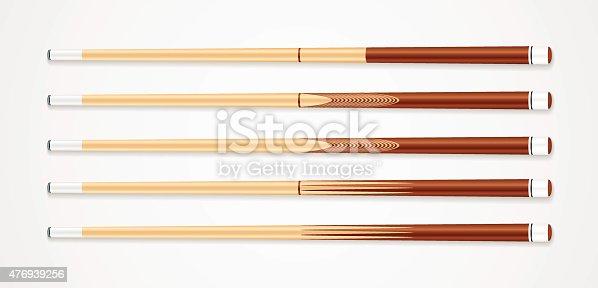 Billiard cue sticks on white background. EPS 10