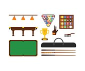 Billiard Game Equipment Set. Vector