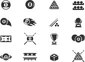 Billiard icons set