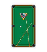 Billiard or snoker background. Good design template for banner, card, flyer. Pool table, balls and cue stick