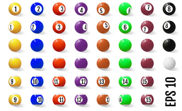 Billiard, pool or snooker balls with numbers. vector art illustration