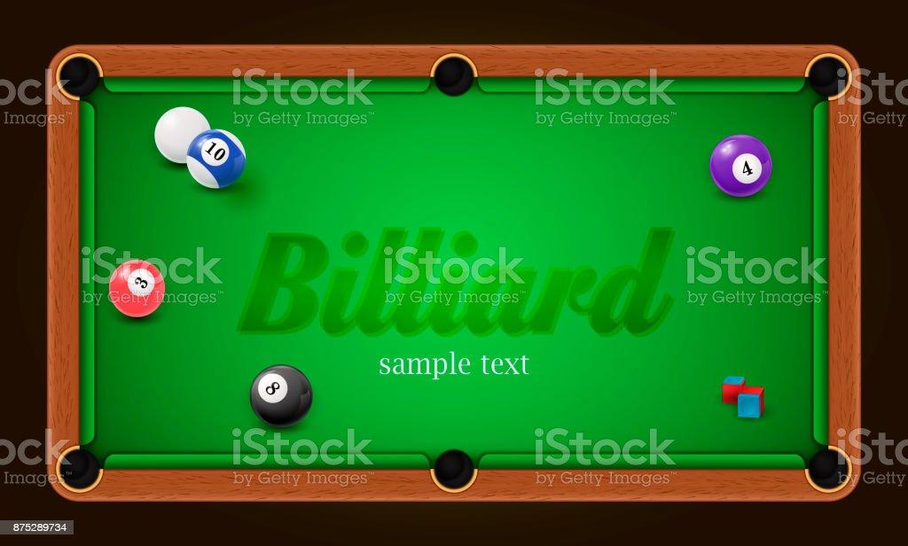 Billiard poster. Pool table background illustration with billiard balls and billiard chalk vector art illustration