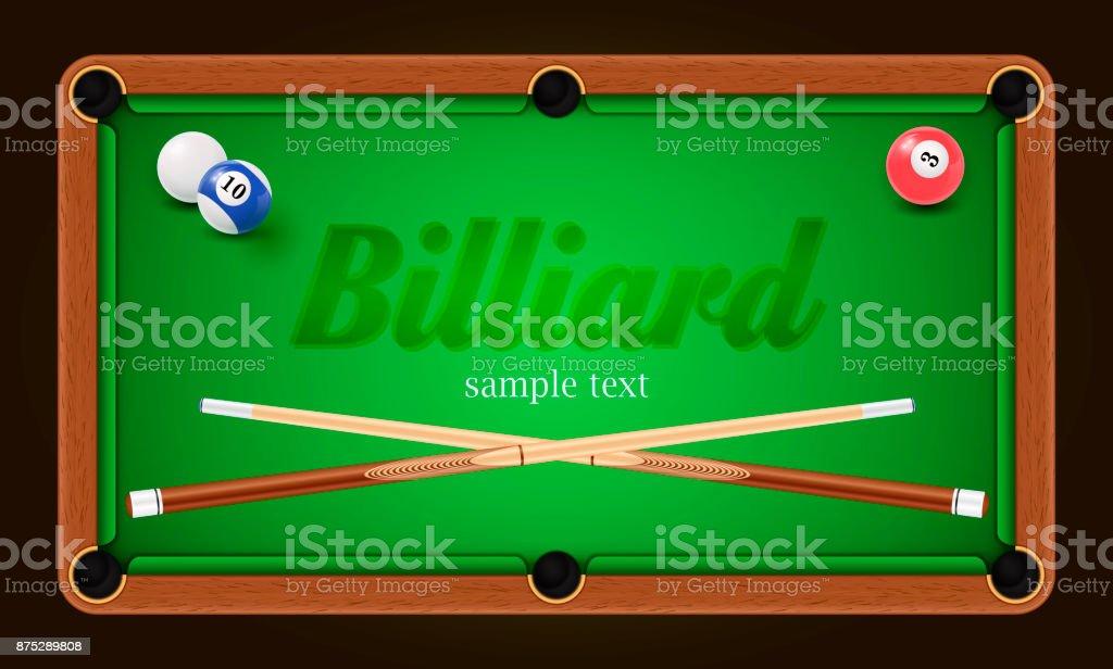 Billiard poster. Pool table background illustration with billiard balls and billiard chalk and cue vector art illustration