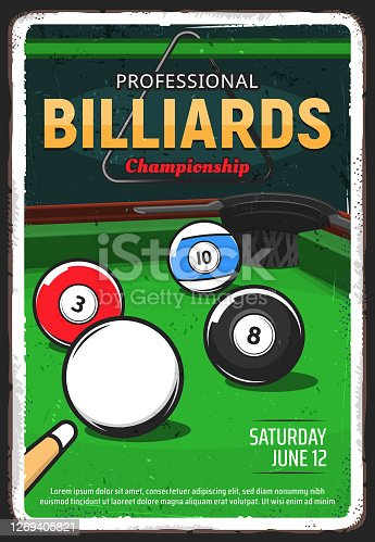 istock Billiard table, pool or snooker game ball and cue 1269405821