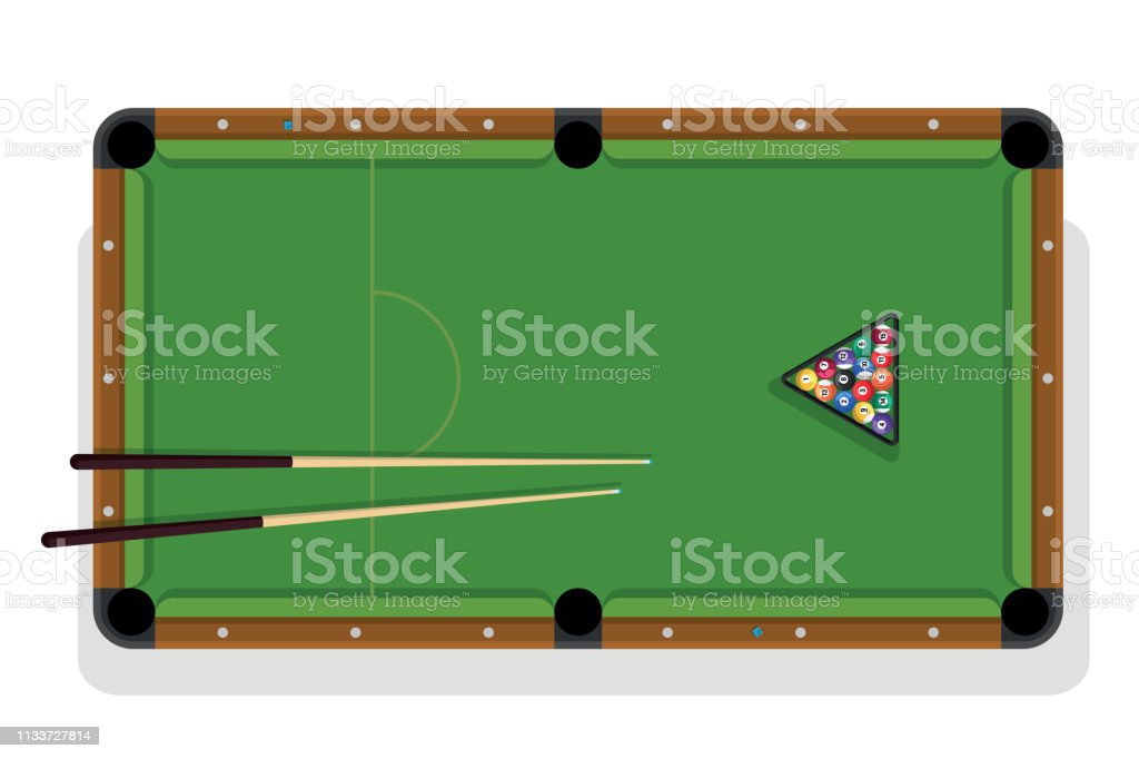 Billiard table, pool stick and billiard balls for game. Pool table...