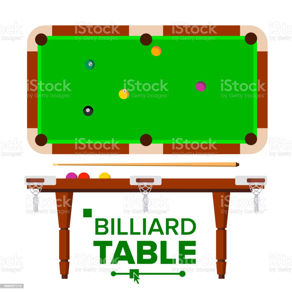 Billiard Table Vector. Top, Side View. Green Classic Pool, snooker...