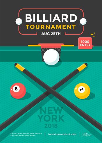 Billiard tournament sport poster design with ball