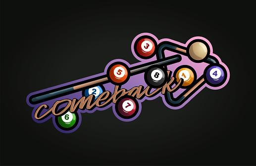 Billiard vector sport Typography sticker illustration in retro style. Vector design emblem, badge and sporty template logo design