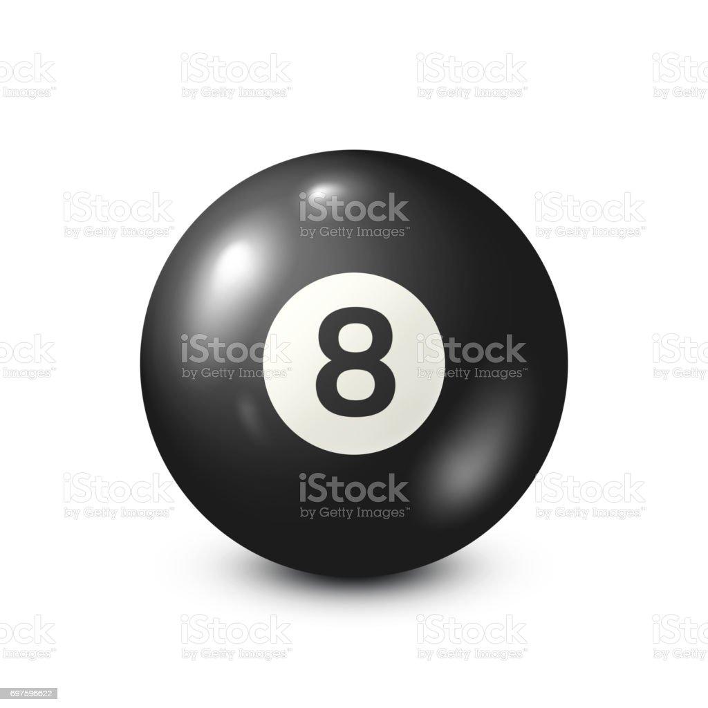 Billiard,black pool ball with number 8.Snooker. White background.Vector illustration vector art illustration