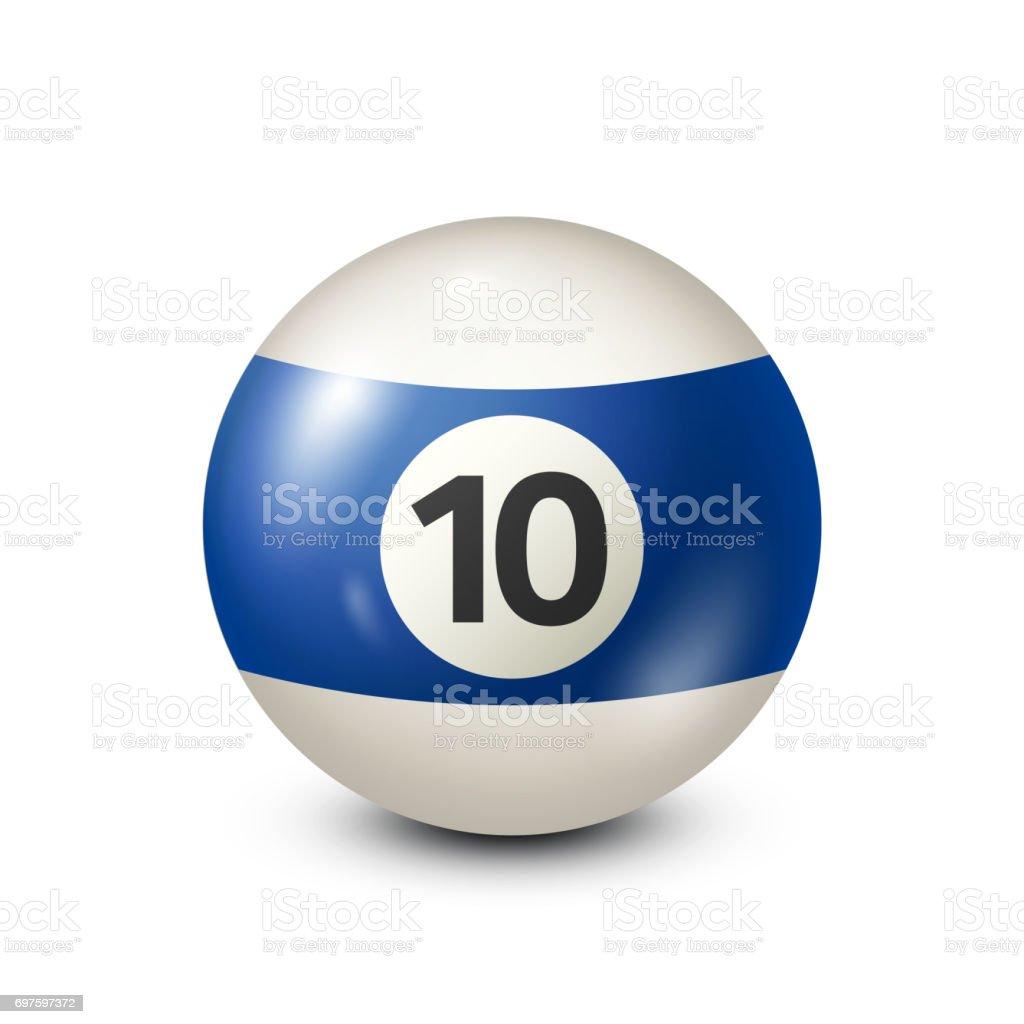 Billiard,blue pool ball with number 10.Snooker. Transparent background.Vector illustration vector art illustration