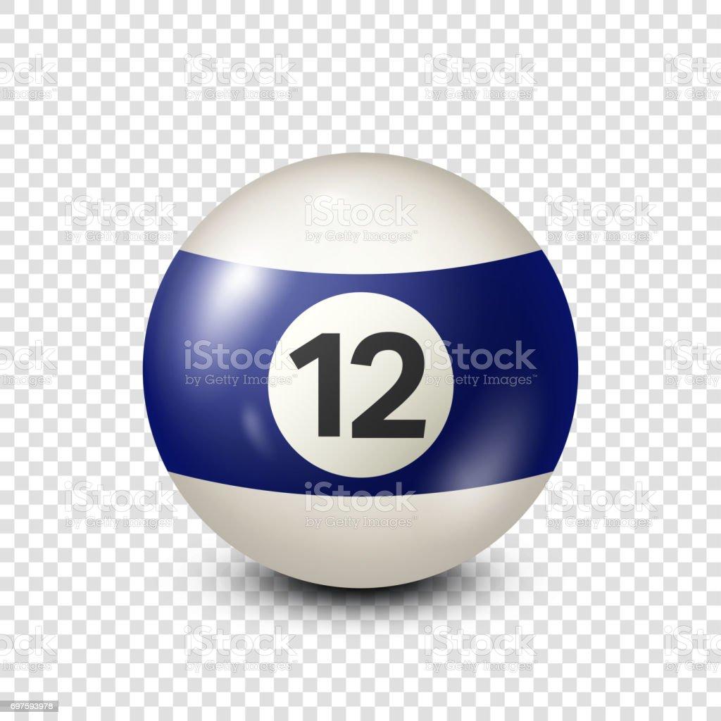 Billiard,blue pool ball with number 12.Snooker. Transparent background.Vector illustration vector art illustration