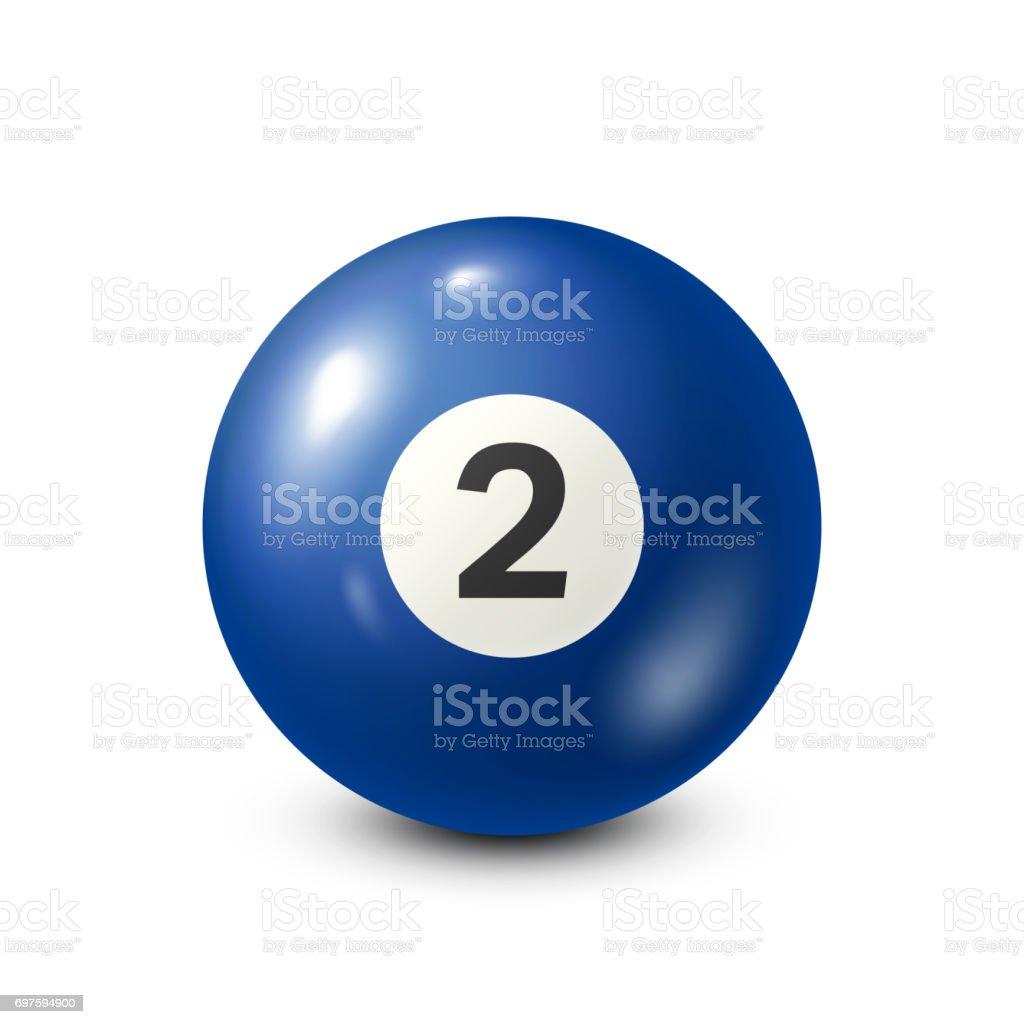 Billiard,blue pool ball with number 2.Snooker. White background.Vector illustration vector art illustration