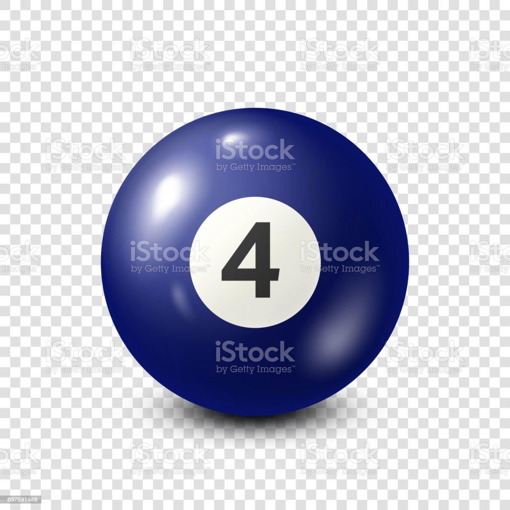 Billiard,blue pool ball with number 4.Snooker. Transparent background.Vector illustration vector art illustration
