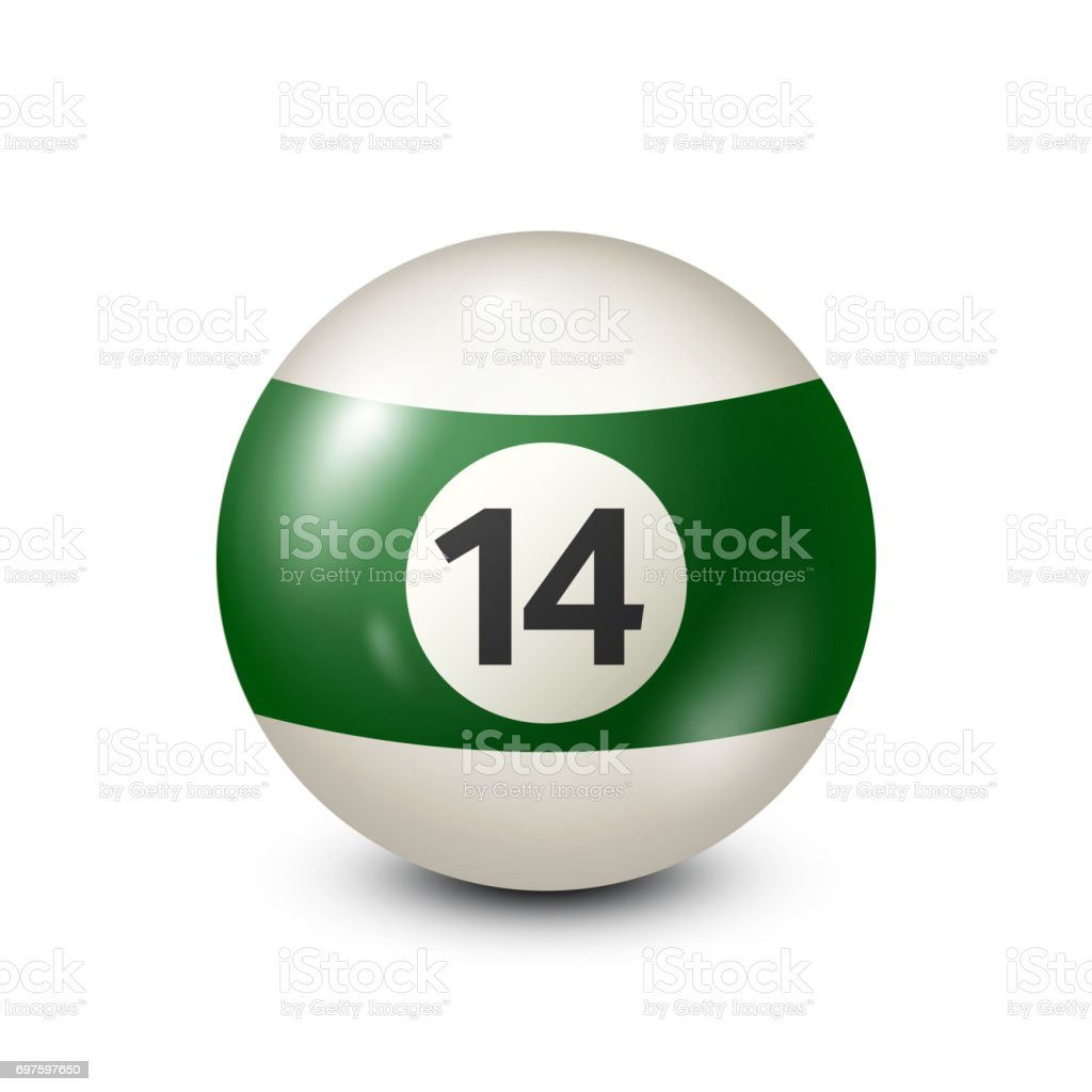 Billiard,green pool ball with number 14.Snooker. Transparent background.Vector illustration vector art illustration