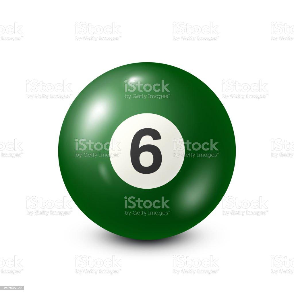 Billiard,green pool ball with number 6.Snooker. White background.Vector illustration vector art illustration