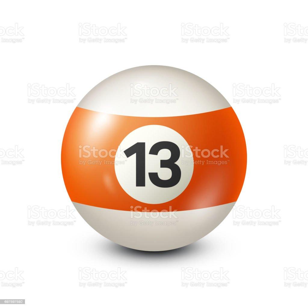 Billiard,orange pool ball with number 13.Snooker. Transparent background.Vector illustration vector art illustration