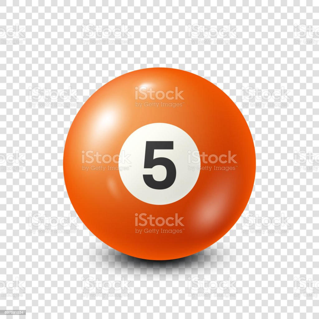 Billiard,orange pool ball with number 5.Snooker. Transparent background.Vector illustration vector art illustration