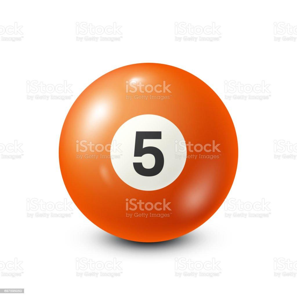 Billiard,orange pool ball with number 5.Snooker. White background.Vector illustration vector art illustration
