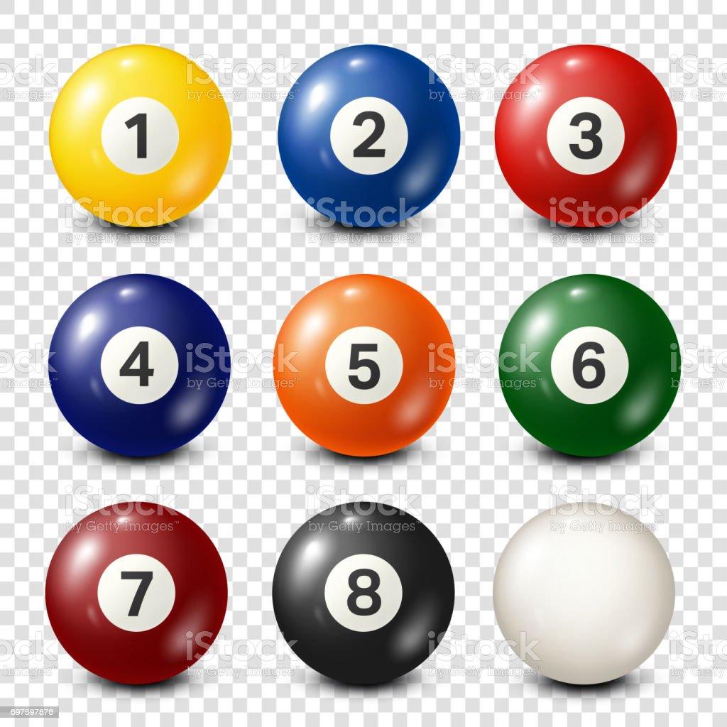 Billiard,pool balls collection. Snooker. Transparent background. Vector illustration vector art illustration