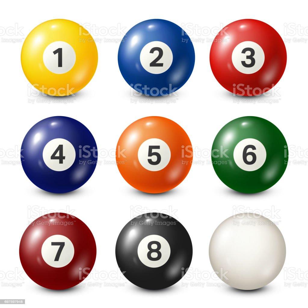 Billiard,pool balls collection. Snooker. White background. Vector illustration vector art illustration