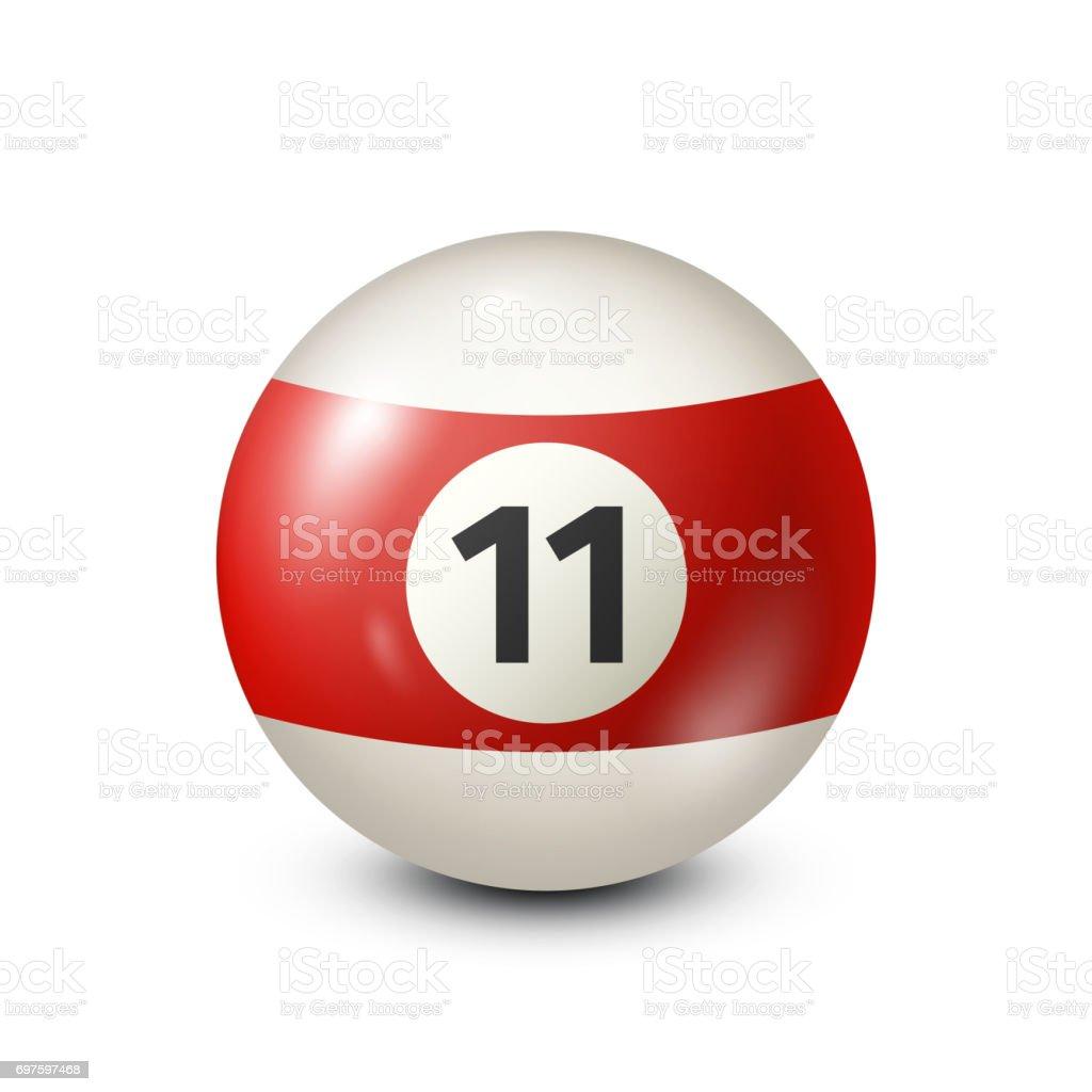 Billiard,red pool ball with number 11.Snooker. Transparent background.Vector illustration vector art illustration
